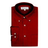 《MURANO》男款原色燈芯絨長袖襯衫 - 暗紅(L)