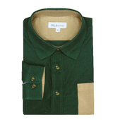 《MURANO》男款撞色燈芯絨長袖襯衫 - 墨綠 / 卡其(L)