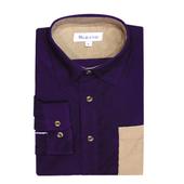 《MURANO》男款撞色燈芯絨長袖襯衫 - 暗紫 / 卡其(L)