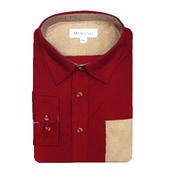 《MURANO》男款撞色燈芯絨長袖襯衫 - 暗紅 / 卡其(L)