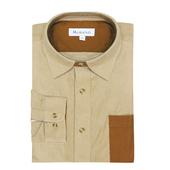 《MURANO》男款撞色燈芯絨長袖襯衫 - 卡其 / 咖啡(L)