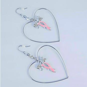 S.S享新 耳?垂吊蝴蝶結鑽飾+桃心造型鋼針耳環(粉)