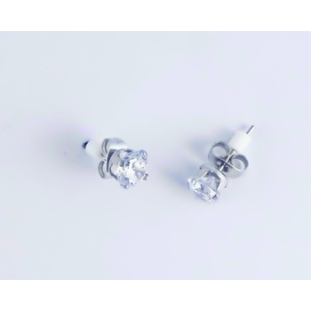 S.S享新 耳針6m/m單鑽八心八箭鋼針耳環(白鑽)