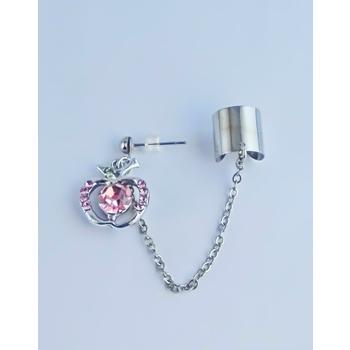 S.S享新 耳骨+耳針垂吊蘋果鑽飾鋼針耳環(粉鑽)