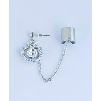 S.S享新 耳骨+耳針垂吊蘋果鑽飾鋼針耳環(白鑽)