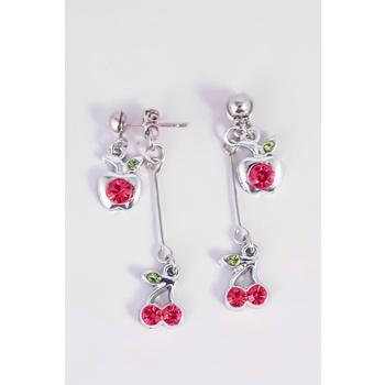 S.S享新 耳針垂吊鑽飾蘋果櫻桃造型鋼針耳環(紅)