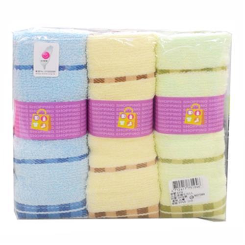 彩條毛巾3入(33*68cm S339 (225g/pc))