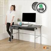 《BuyJM》簡單型低甲醛粗管仿馬鞍皮雙抽工作桌(寬120cm)(黑色)