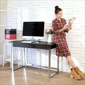 《BuyJM》仿馬鞍皮電鍍粗腳雙抽大書桌/電腦桌(黑色)