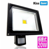 《Kiss Quiet》質感黑(白光/黄光)20W LED感應投射燈,全電壓高PF-1入(黑體-白光)