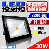 《Kiss Quiet》質感黑(白光/黄光)30W LED投射燈全電壓探照燈-1入(黑體-黄光)