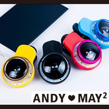 AndyMay2 自拍神器 9合1多功能特效鏡頭+補光器(紅色)
