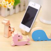 通用創意木質可愛動物手機支架(藍鯨魚)
