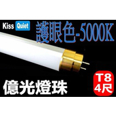 《Kiss Quiet》黄金戰士(護眼白5000K)-億光燈珠CNS認證 4尺/4呎T8 LED燈管-2入(黄金戰士-護眼白)
