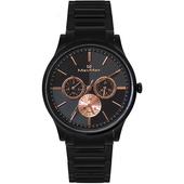 《Max Max》幾何美學時尚三眼錶(MAS70103J-1 艷麗黑)