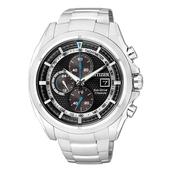 《CITIZEN》一級方程式 鈦金屬光能三眼計時腕錶-黑x銀 (CA0551-50E)