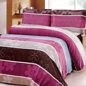 《Victoria》法蘭絨鋪棉加大床包四件組-雅緻(6x6.2尺)