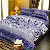 《Victoria》法蘭絨鋪棉加大床包四件組-花語(6x6.2尺)
