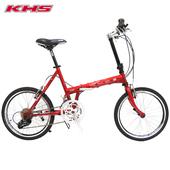 《KHS功學社》F20-JJ 20吋16速50-34T鉻鉬鋼折疊單車(紅色)