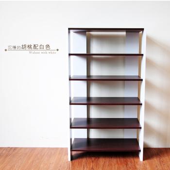 Hopma 多功能組合式五層鞋櫃(胡桃配白)