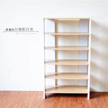 Hopma 多功能組合式五層鞋櫃(白橡配白)