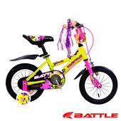 《BATTLE》Eaglets 小美鷹 12吋高碳鋼 兒童三輪車 附加輔助輪(桃紅)