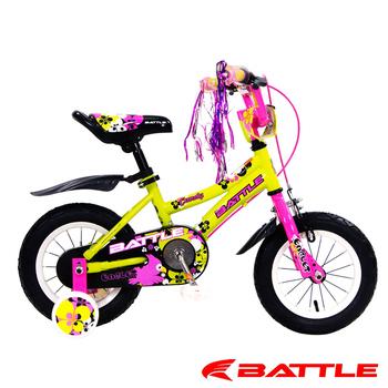 BATTLE Eaglets 小美鷹 12吋高碳鋼 兒童三輪車 附加輔助輪(桃紅)