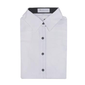 MURANO 女款休閒長版素色襯衫 - 純白(M)