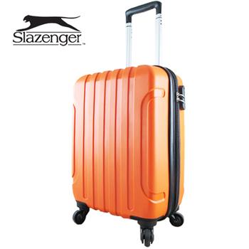英國 Slazenger 史萊辛格 20吋 駭客直條紋行李箱/拉桿箱/登機箱(加州橘)
