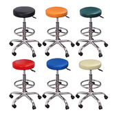 《LOGIS》MM彩虹鐵腳高吧腳圈鐵腳滑輪工作椅/美容椅/休閒椅/美髮椅/旋轉椅  6色(橘)