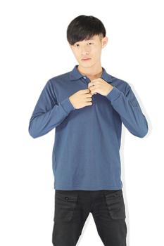 FP 男素色長袖POLO衫 深藍(L)
