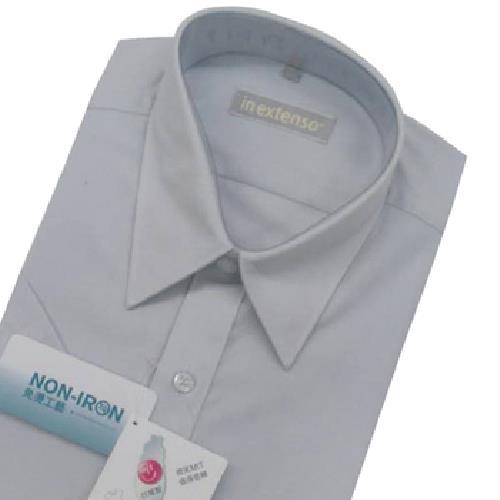 《IN》短袖素色防皺襯衫-淺灰(17)