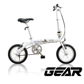 《GEAR》14吋鋁合金都會輕巧前後截色折疊車_M1(白色)