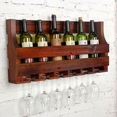 《C&B》鄉村趣紅酒高腳杯壁掛架(胡桃色)