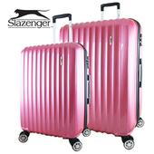 《英國 Slazenger 史萊辛格》24+28吋 時尚雅緻拉絲行李箱/拉桿箱/旅行箱(桃心紅)