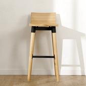 《BuyJM》巴比倫實木高腳椅/吧台椅(原木色)
