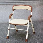 【海夫健康生活館】可折疊EVA坐墊有靠背洗澡椅 (咖啡混白)