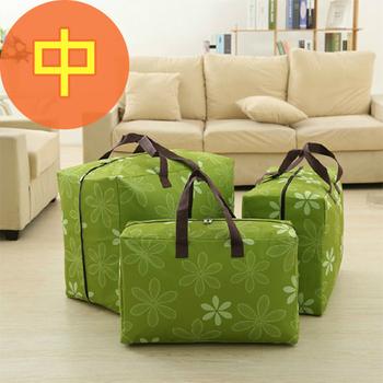 佶之屋 日式 600D可水洗式牛津布棉被、衣物收納袋-中(綠色太陽花)