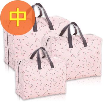 佶之屋 日式 600D可水洗式牛津布棉被、衣物收納袋-中(粉紅櫻桃)