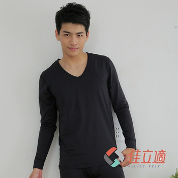 《3M-佳立適》蓄熱保暖衣-男V領-黑色(L)