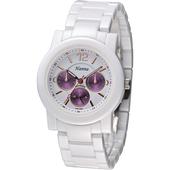 《Hanna》巴黎時尚全日曆白陶瓷腕錶-金刻 H6941G-VX3J-6