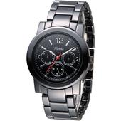 《Hanna》巴黎時尚全日曆黑陶瓷腕錶-銀刻 H6941G-VX3J-5