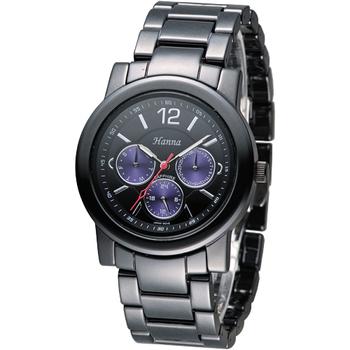 《Hanna》巴黎時尚全日曆黑陶瓷腕錶-紫色小錶盤 H6941G-VX3J-3