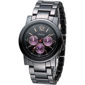 《Hanna》巴黎時尚全日曆黑陶瓷腕錶-紫紅小錶盤 H6941G-VX3J-2
