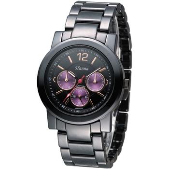 Hanna 巴黎時尚全日曆黑陶瓷腕錶-紫紅小錶盤 H6941G-VX3J-2