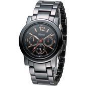 《Hanna》巴黎時尚全日曆黑陶瓷腕錶-金刻 H6941G-VX3J-1