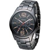 《Hanna》黑鷹戰士全日曆時尚陶瓷男錶-黑 H6925G