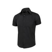 《MURANO》男款休閒斜紋短袖素色襯衫 - 黑(L)