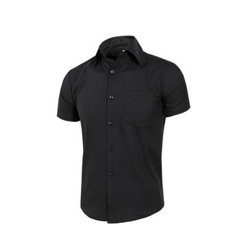 MURANO 男款休閒斜紋短袖素色襯衫 - 黑(L)