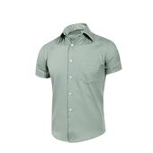 《MURANO》男款休閒斜紋短袖素色襯衫 - 淺綠(L)